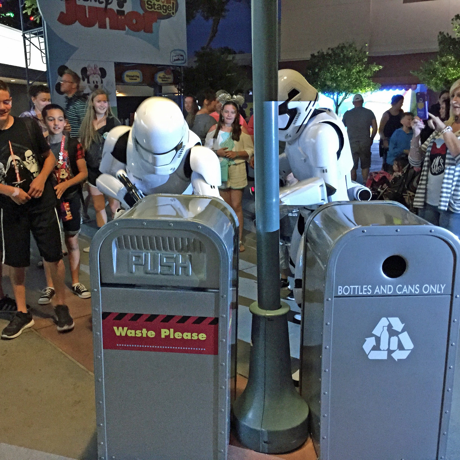 Stormtroopers patrol the area outside Star Wars Launch Bay at Disney's Hollywood Studios