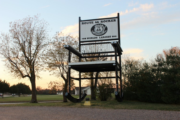 You'll find plenty of roadside attractions along Route 66 like this one in Missouri that was once the world's largest rocking chair.