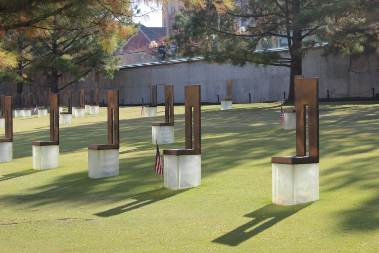 The Outdoor Symbolic Memorial at the Oklahoma City National Memorial is moving during the day and night.