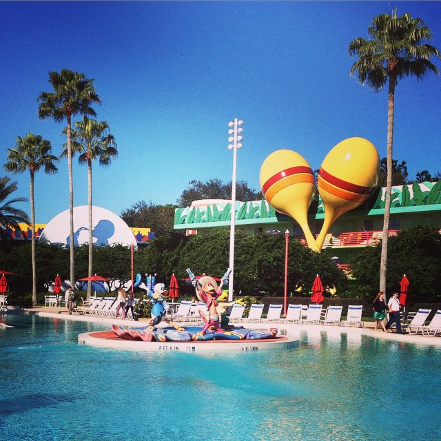 All Star Music Value Resort features the Three Cabeneros in the main pool. / Photo credit Tami Mittan, Outdoorsy TMOM