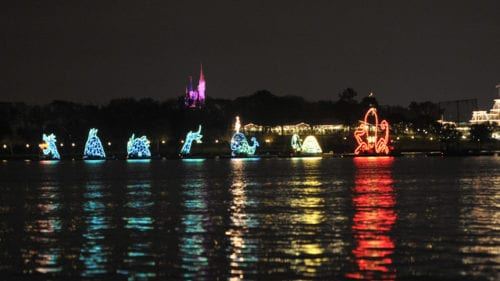 The Electrical Water Pageant parades right past the Grand Floridian. Photo credit: Disney.