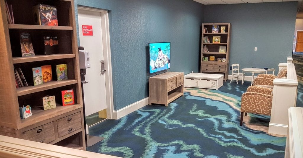 One of the reasons the Wyndham Lake Buena Vista is one of the best Orlando hotel deals is things like this Kids Korner nook in the lobby.