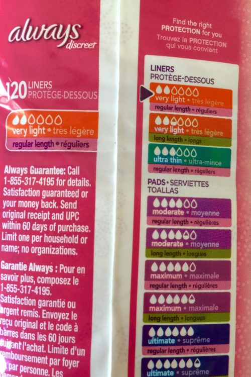 Color coding makes it easy to understand the Always Discreet products for urinary incontinence.