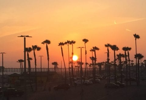 Sunset over the pier, as seen from the Hyatt Regency Huntington Beach Resort