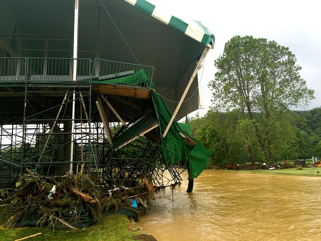 Flood damage at the Greenbrier Hotel in West Virginia