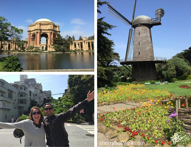 San Francisco collage of Palace of Fine Arts, Queen Wilhemenia, and my tour guide Rodrigo and me.