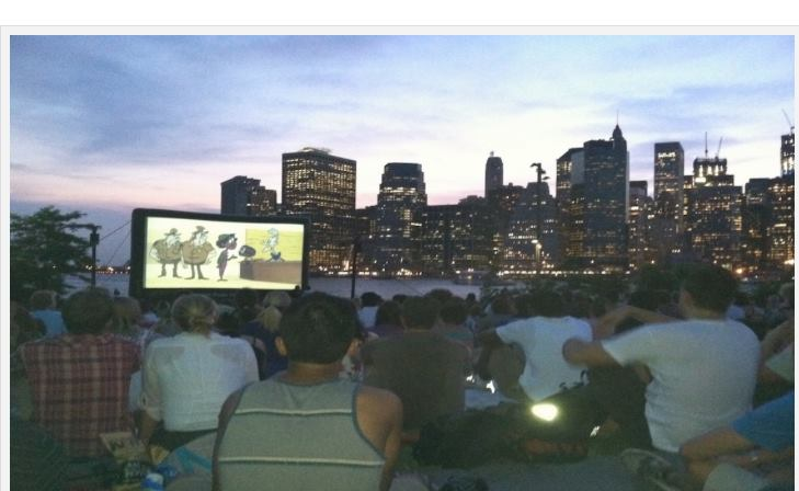 Free movies at the Brooklyn Bridge Park in New York. Photo by Judy Antell, Vegetarian TravelingMom