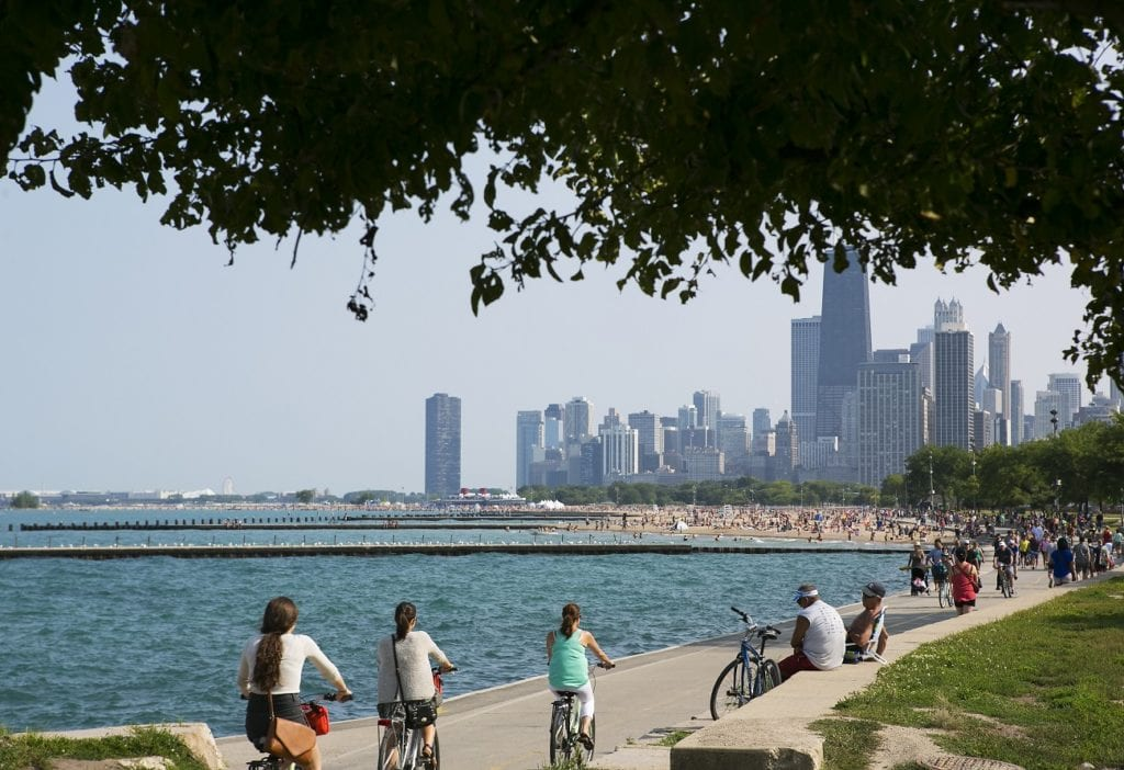 Photo courtesy of Adam Alexander Photography/Choose Chicago Chicago's lakefront path has gorgeous skyline views.