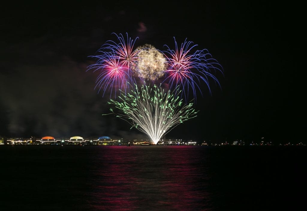 Photo courtesy of Adam Alexander Photography/Choose Chicago A fireworks show is held two nights at week at Navy Pier.