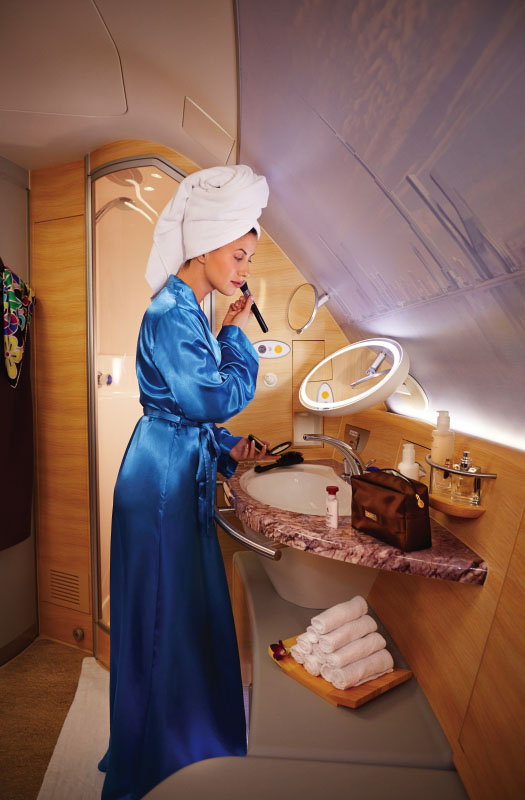 Taking a shower at 40,000 feet: The luxury travel shower spa onboard the Emirates A380.