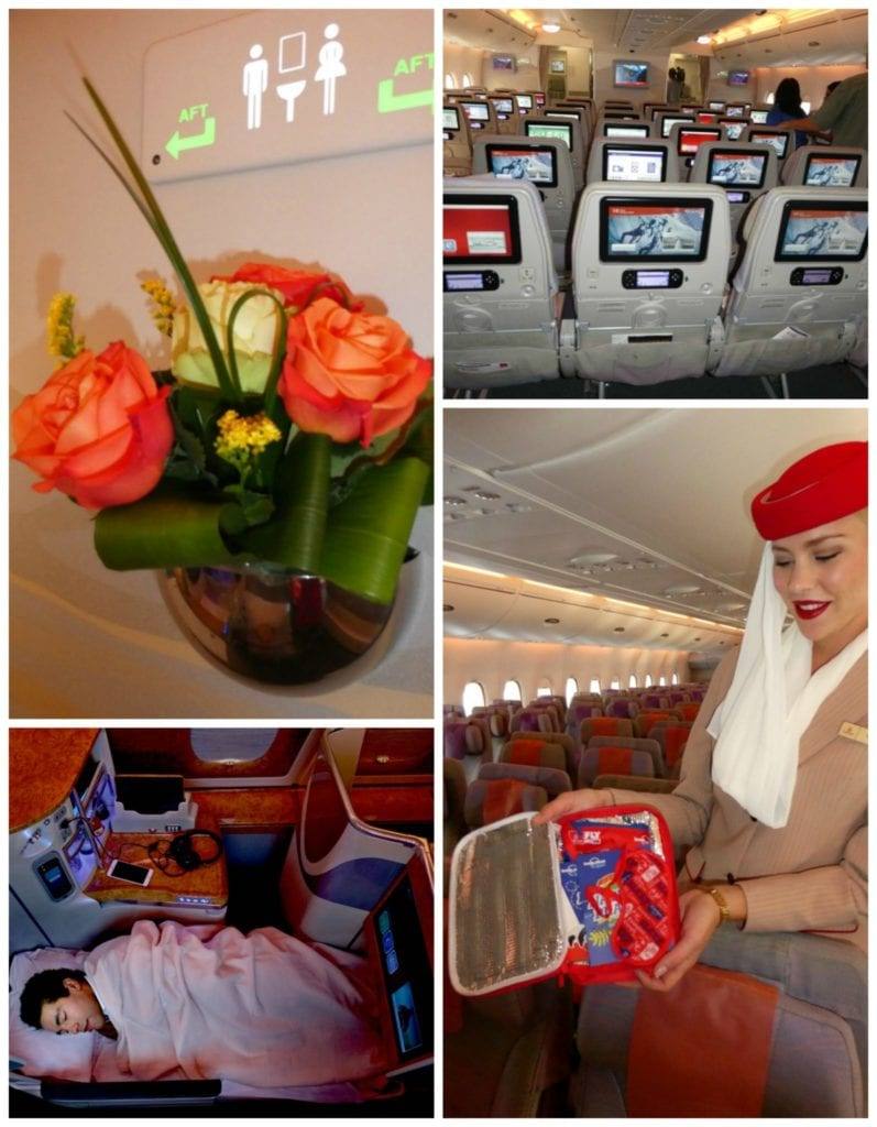 From top left: Real flowers welcome first class flyers to the shower spa; even the economy seats offer first-class entertainment, kids get their own amenity packs, and lie-flat seats in business and first class make it easy to sleep on long international flights.
