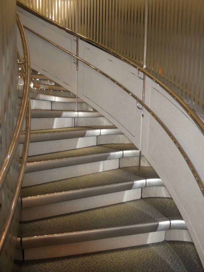 Stairway to heaven in the air, the top deck business and first class cabins of the Emirates A380.
