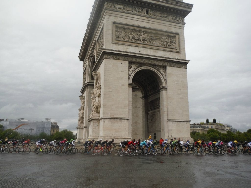 Le Tour de France racers at Arc de Triomphe Photo Credit: Jessica Lippe/ Uncommon TravelingMom