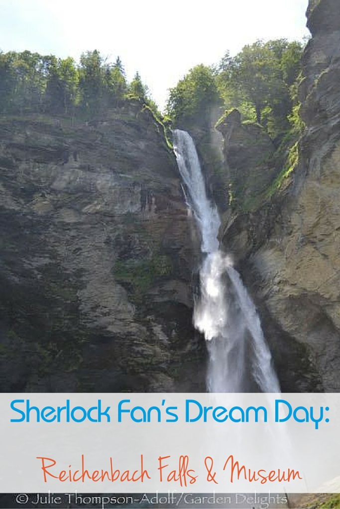 The first view of the Reichenbach Falls is from the lower viewing platform. Be prepared to get wet!