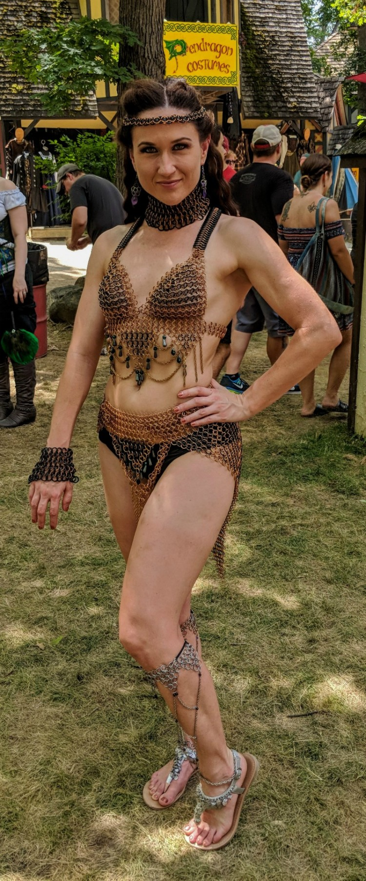 Chain mail is appropriate period costume wear at Bristol Renaissance Faire.