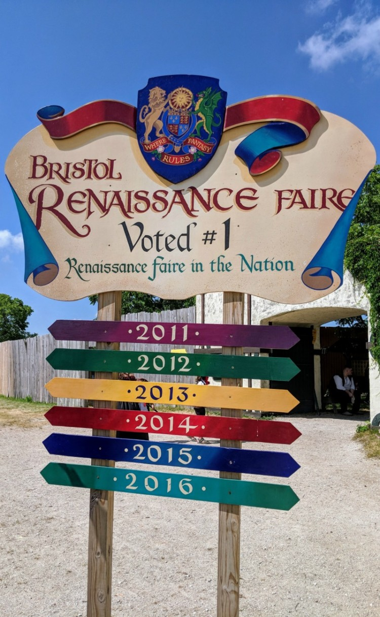 Bristol Renaissance Faire welcome sign.