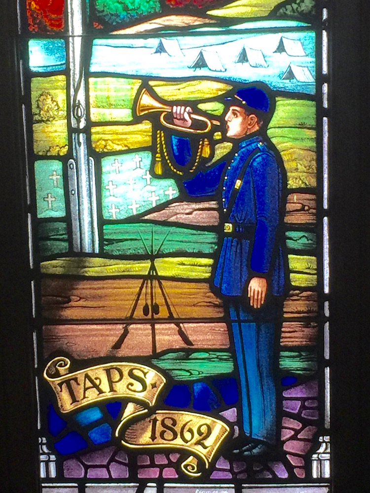stained-glass-window-honoring-Taps-at-Fort-Monroe-chapel