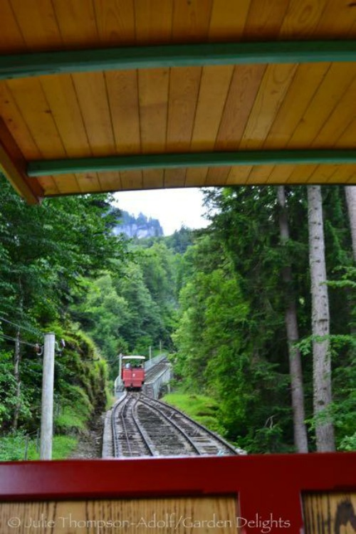 The Reichenbach Falls funicular carries passengers up the mountain to an elevation of 2,769 feet.