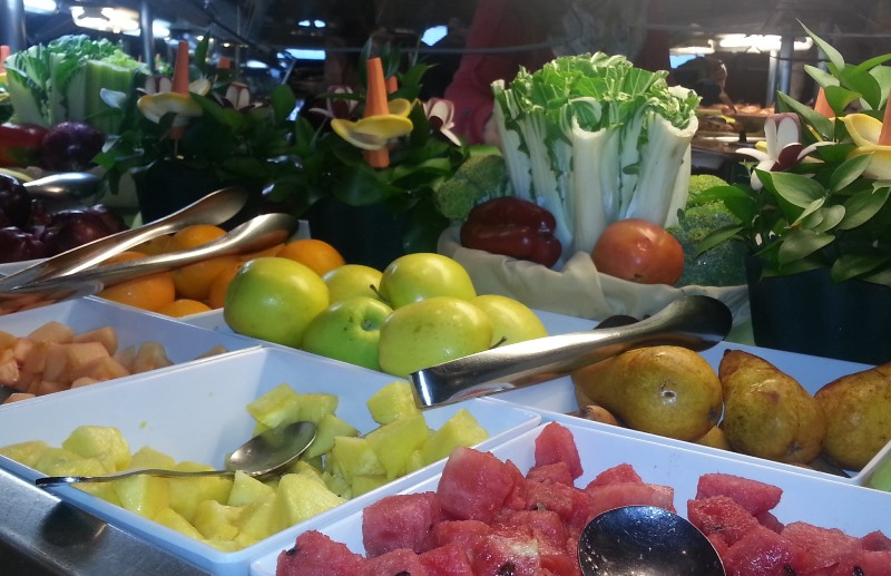 An amazing array of fresh fruit at the Disney Wonder's buffet. Photo credit: Gwen Kleist, Healthy TravelingMom.