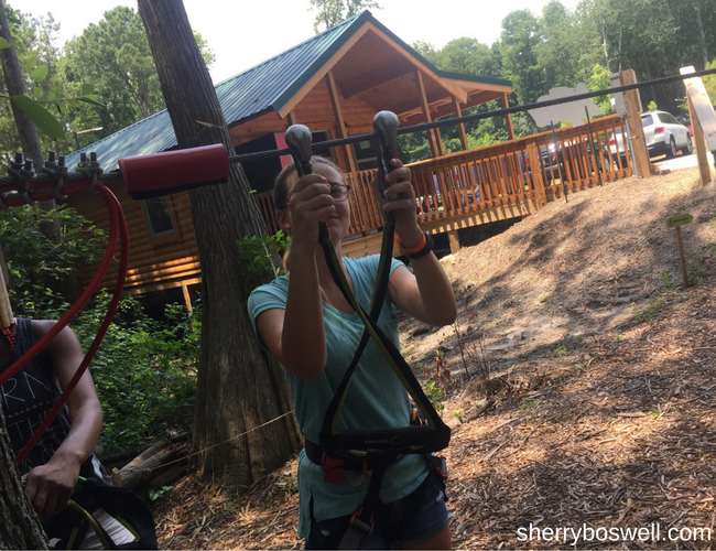 Learning the roped: safety training at Go Ape. Photo by Sherry Boswell, Melodious Tra
