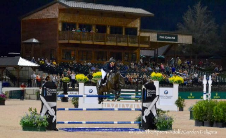 Equestrian athletes in the Grand Prix at Tryon International Equestrian Center.
