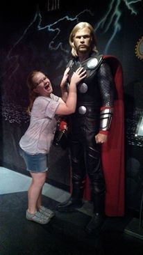 Business trip travwel tips - hang out with a superhero, Thor, at Madame Tussaud's Wax Museum Photo By: Sharon Enck