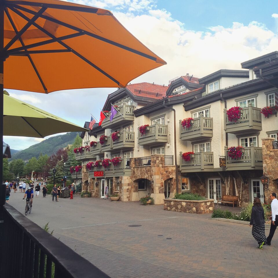 Walk this way...the adorable downtown on our Vail family vacation