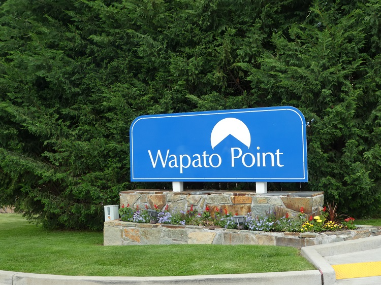 Welcome sign at the entrance to Wapato Point Resort on Lake Chelan, WA
