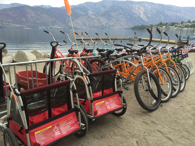 Rent bikes to enjoy the 114-acre resort at Wapato Point on Lake Chelan, WA