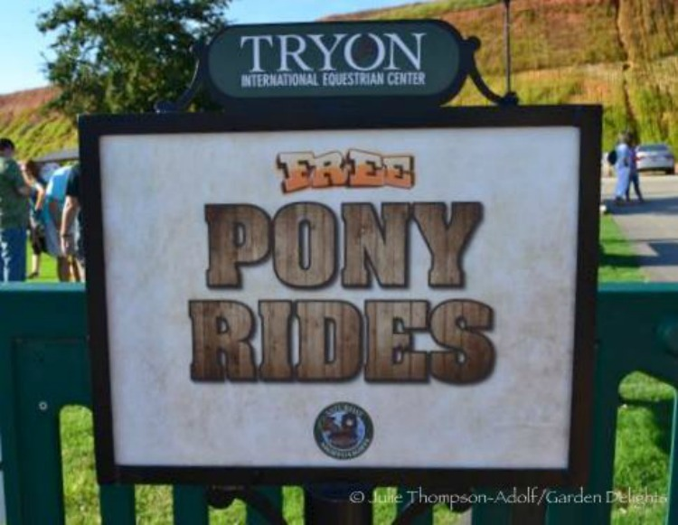 Free pony rides for horse-crazy kids at Tryon International Equestrian Center.