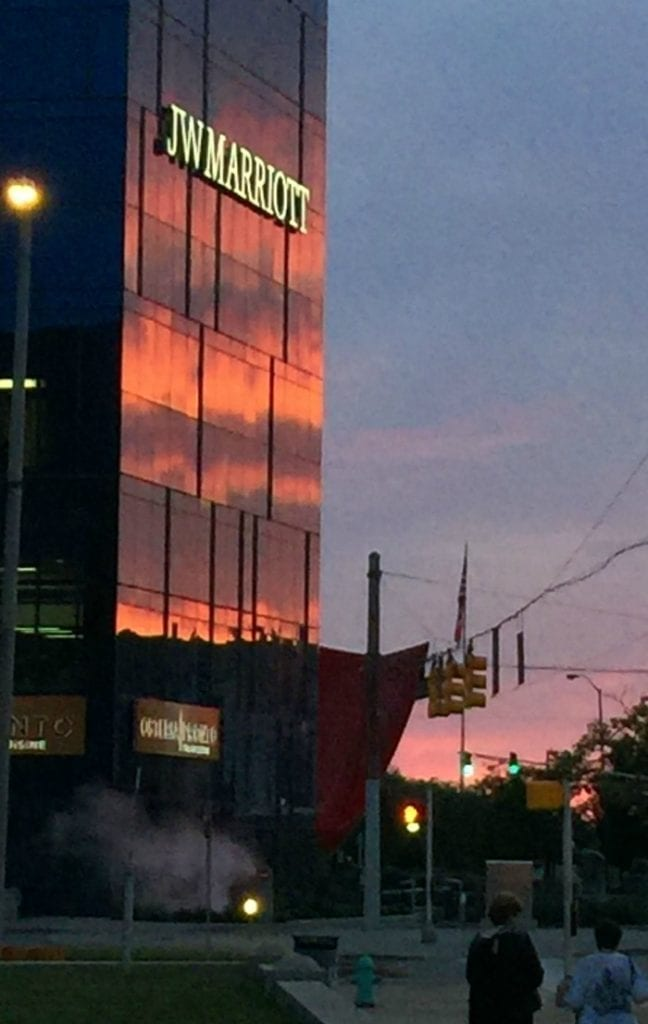 Things to do in Indianapolis: Watch the sun set over the J.W. Marriott.