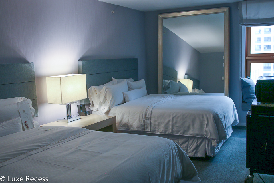 The Westin Times Square family rooms offer two queen beds.