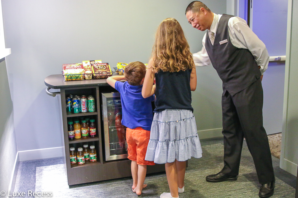 The Westin Times Square offers a mobile snack cart for families to purchase items for the fridge and microwave.