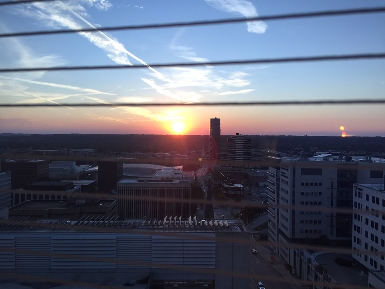 Sunset from the 9th floor at Helen DeVos Children's Hospital in downtown Grand Rapids, MI. Childhood Cancer Awareness Month 2016