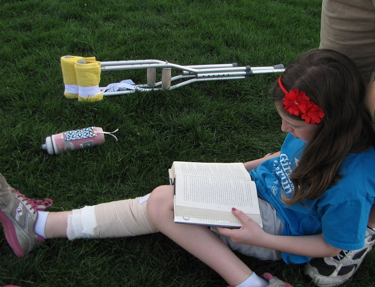 Recovering from the 'wide resection' of her knee tumor in spring 2013. Childhood Cancer Awareness Month 2016