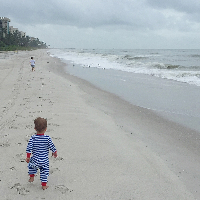 Tips for your beach vacation with baby: Go at the right time when it's cooler and shady