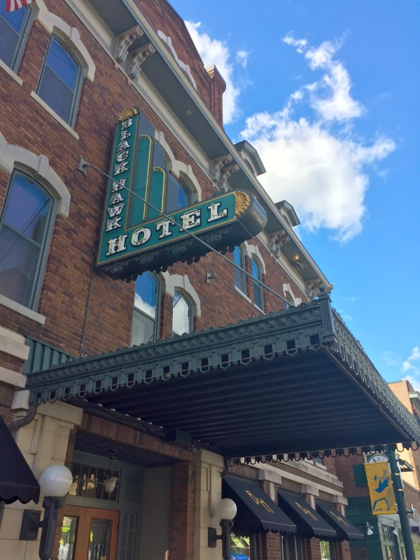 Historical Black Hawk Hotel on Main Street in Cedar Falls on the Iowa Outdoors tour.