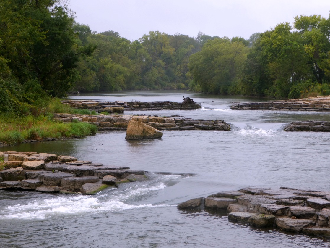 First three of the six features at Manchester Whitewater Park of Iowa Outdoors
