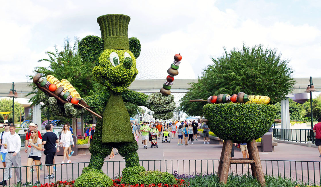 Mickey topiary at the Epcot Food & Wine Festival. Photo Credit: Sarah Gilliland, Twins TravelingMom