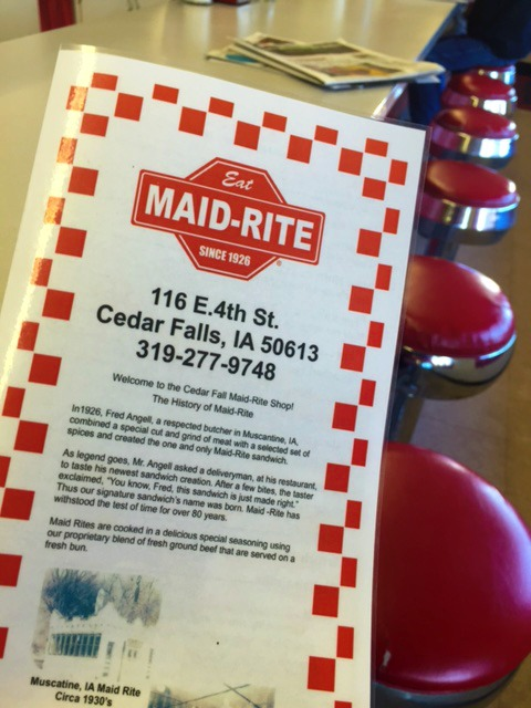 Single row of counter seating at local favorite Maid-Rite in Cedar Falls on the Iowa Outdoors tour.