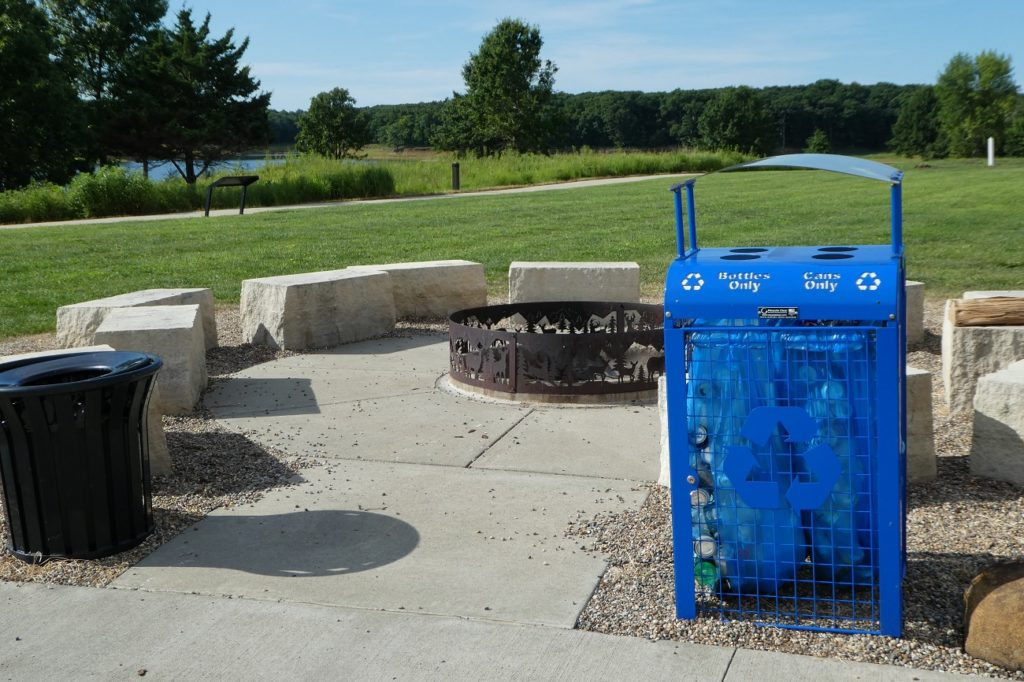 Recycling bins are one of ways Honey Creek Resort emphasizes eco-friendliness. Photo by Jamie Bartosch/Suburban TravelingMom
