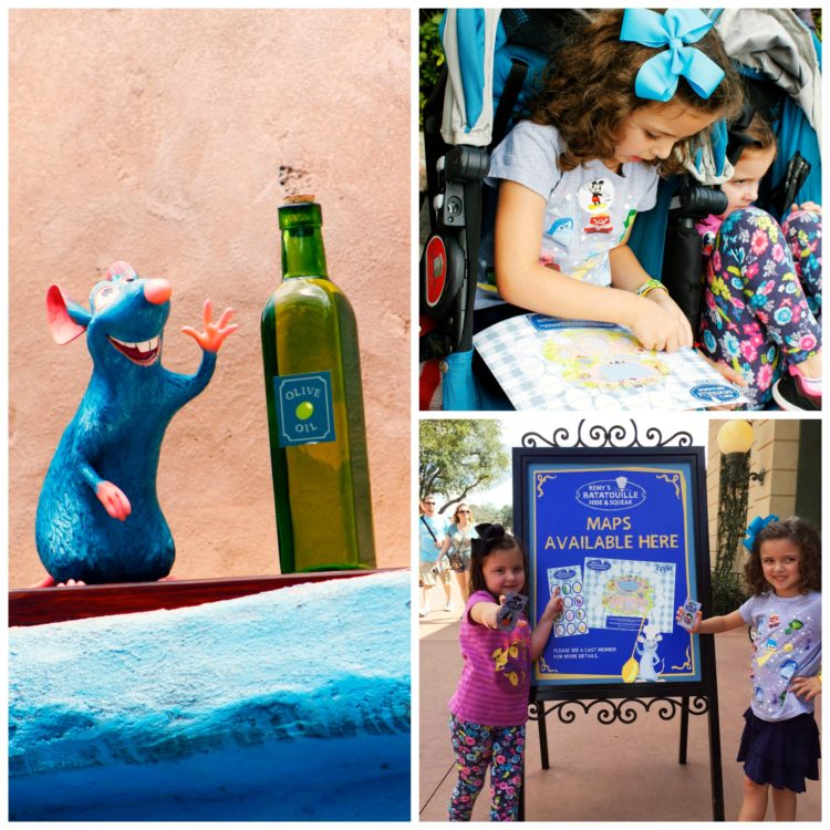 """Playing """"hide and squeak"""" with Remy during Epcot's International Food & Wine Festival. Photo Credit: Sarah Gilliland, Twins TravelingMom"""