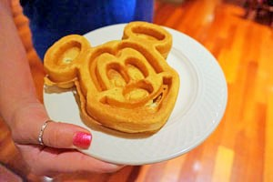 Famous Mickey waffle at Wynham Lake Buena Vista - photo by Yvonne Jasinski Credit Card TravelingMom