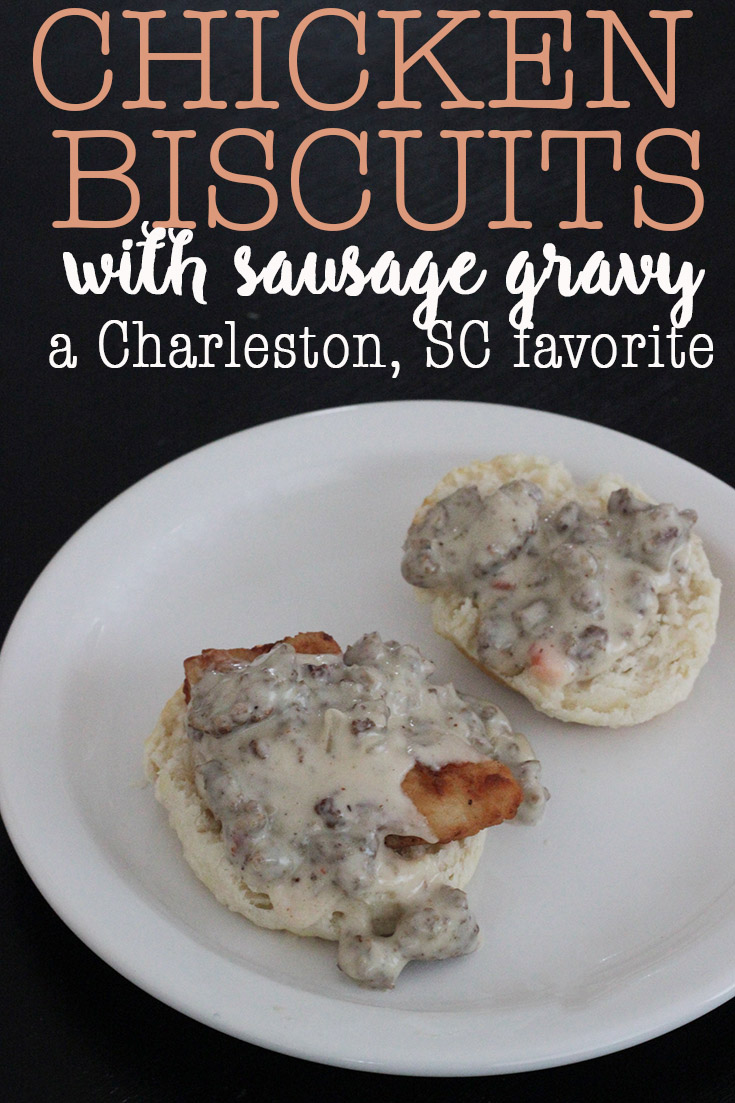 Try this easy recipe for delicious chicken biscuits with sausage gravy, just the way they make them at Hominy Grill in Charleston, South Carolina.