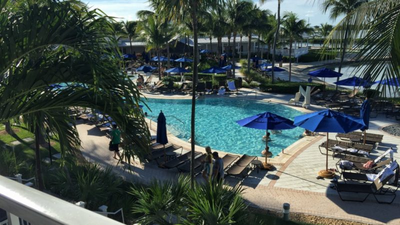 A room with a view--of the main pool at Hawks Cay Resort in the Florida Keys.