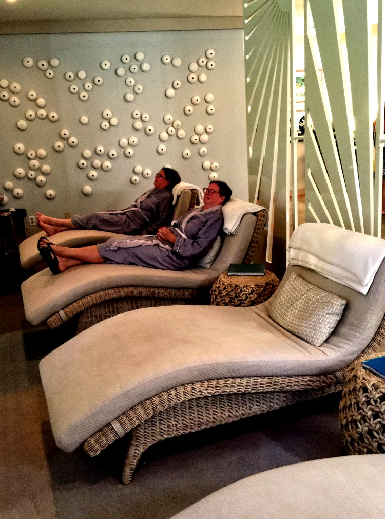 The relaxation starts in the waiting room at the Calm Waters Spa at Hawks Cay Resort.
