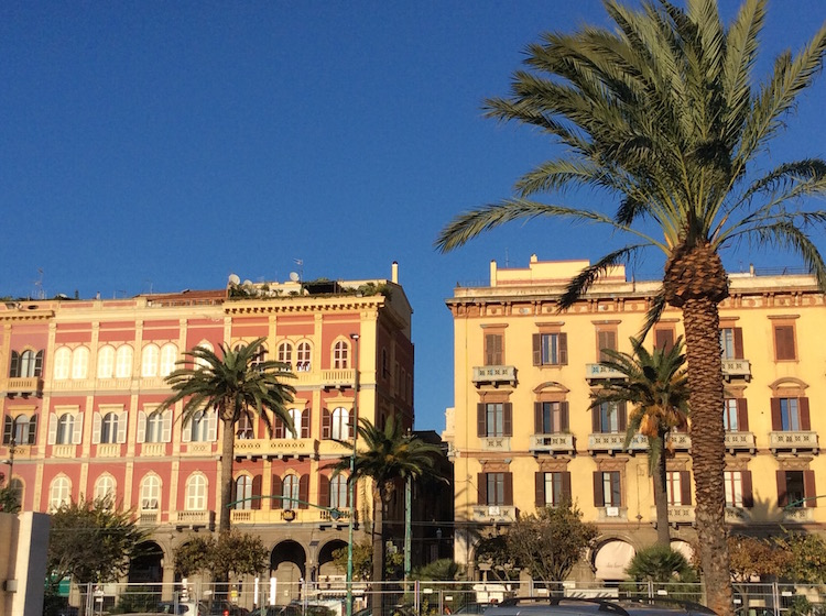Afternoon sun makes Sardinia buildings glow, even off-season