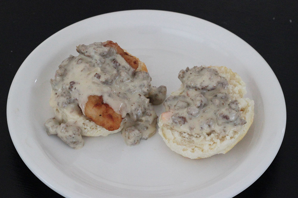Southern fried chicken biscuit with sausage gravy.