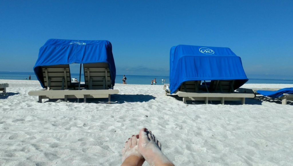 Use of beach cabanas is included with your stay at Tradewinds Island Resort. Photo credit: Gwen Kleist, Healthy TravelingMom.
