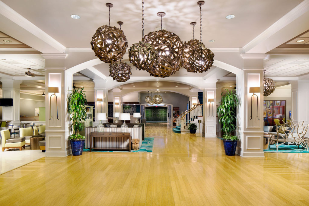 Hotel common spaces, like the Wyndham Lake Buena Vista's beautiful lobby, are great spots for scavenger hunts! Photo credit: Wyndham.